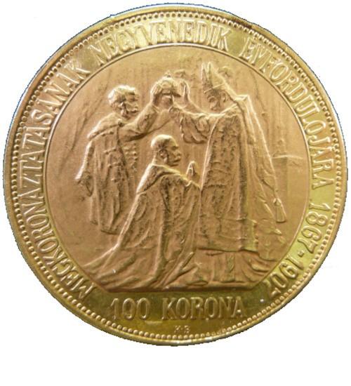Ungarn 100 Gold Korona / Kronen zum Krönungsjubiläum