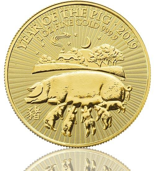 Lunar Serie UK Goldmünze 1 oz 2019 Schwein Pig