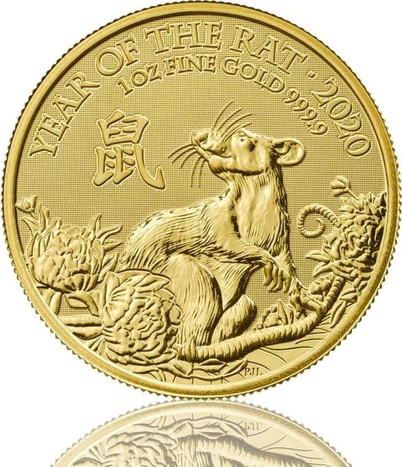 Lunar Serie UK Goldmünze 1 oz 2020 Ratte Rat