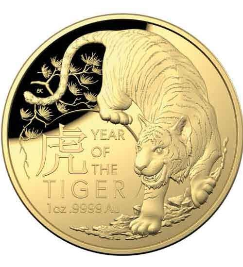 Lunar Serie RAM 1 oz Gold 2022 Tiger PP gewölbte Prägung