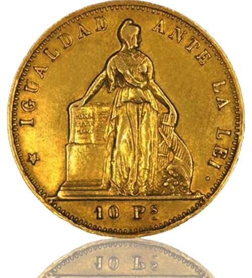 Chile 10 Pesos 1851-1892