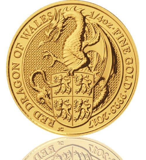 The Queen's Beast - Roter Drache von Wales 1/4 oz 2017