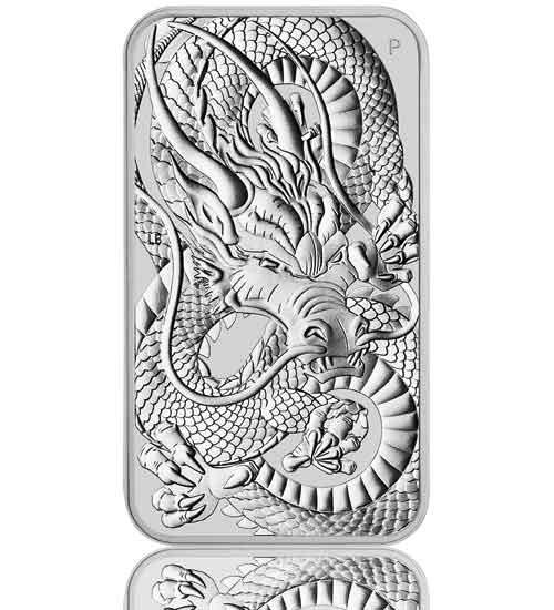 1 oz Silber Motiv-Barren 2021 Drache Perth Mint mit rechteckiger Kapsel
