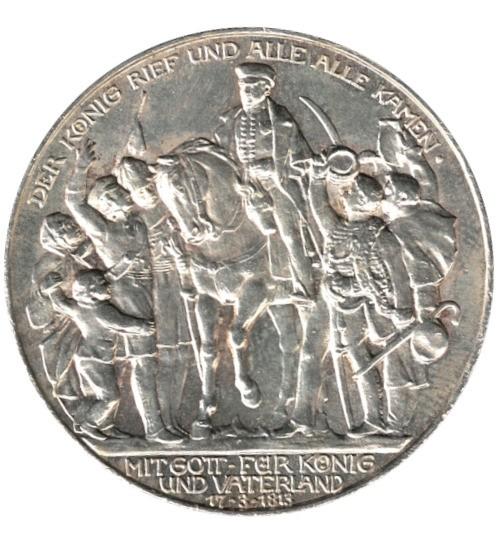 3 Mark Preussen König Friedrich Wilhelm II zu Pferd 1913