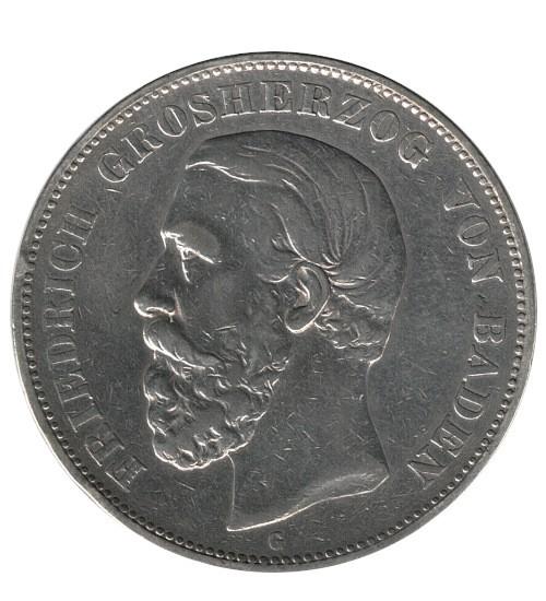 5 Mark Friedrich Grossherzog von Baden 1875 G
