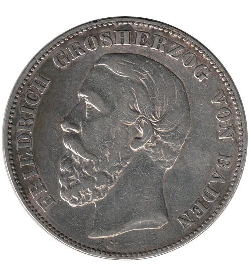 5 Mark Friedrich Grossherzog von Baden 1876 G