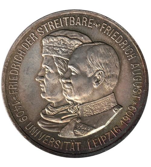 5 Mark Friedrich August III. Sachsen Universität Leipzig 1909 E