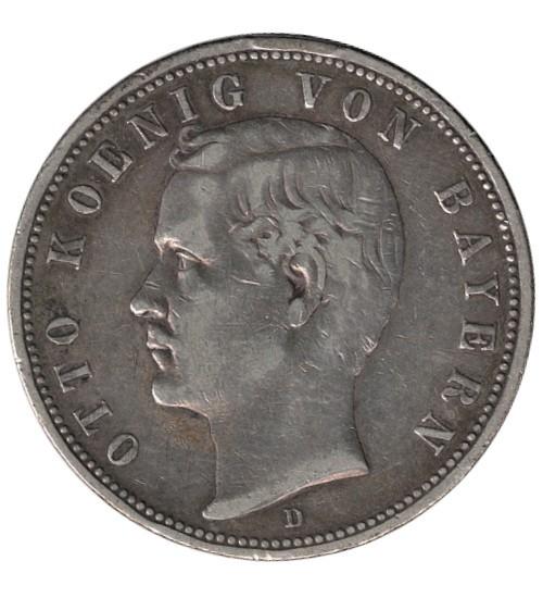 5 Mark Otto König von Bayern 1888 D
