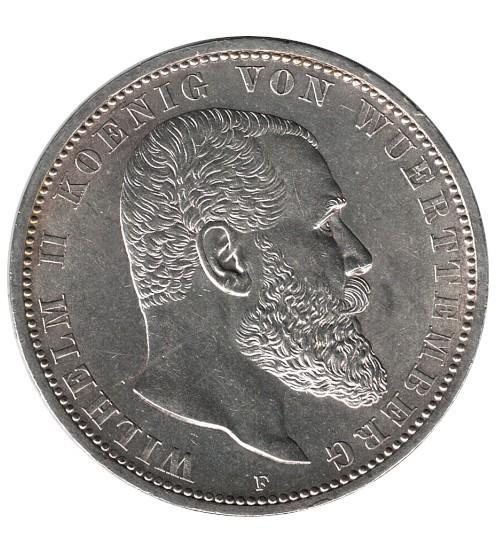 5 Mark Wilhelm II König von Württemberg 1908 F