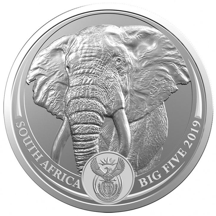 Big Five Elefant 1 oz Silber 2019 im Blister (1. Motiv)