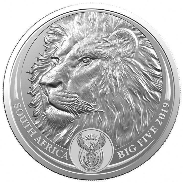 Big Five Löwe 1 oz Silber 2019 im Blister (2. Motiv)