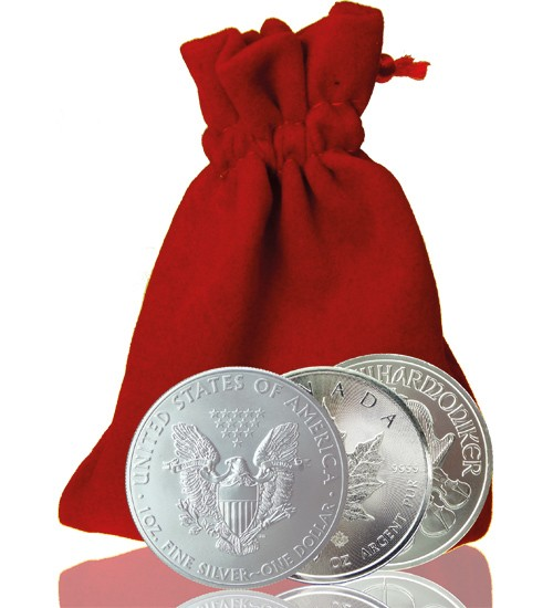 3 x 1 oz Silbermünzen (1 x Americ. Eagle, 1 x Maple Leaf & 1 x Wiener Philharmoniker)