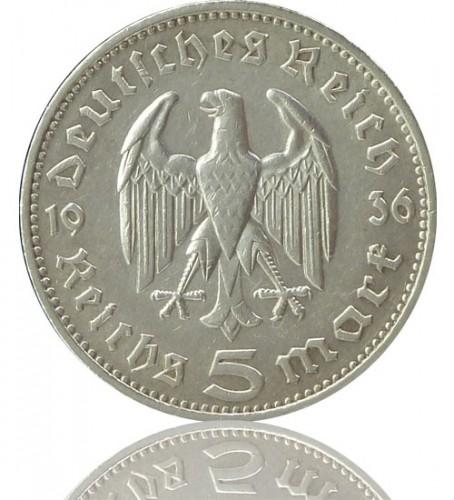 5 Reichsmark Rm Hindenburg 1935 1936 J 360
