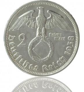 """2 Reichsmark RM """"Hindenburg mit HK"""" 1936-1939 J. 366"""