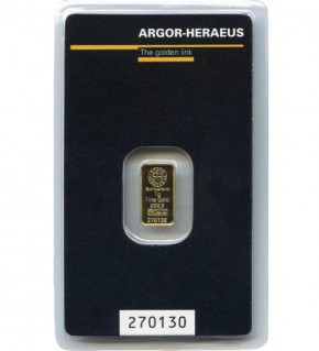 Argor-Heraeus Gold-Barren 1 g Scheckkarte (LBMA-zertifiziert)