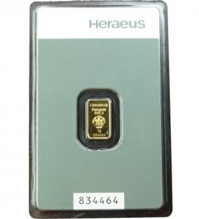 Heraeus Gold-Barren 1 g Kinebar Scheckkarte (LBMA-zertifiziert)
