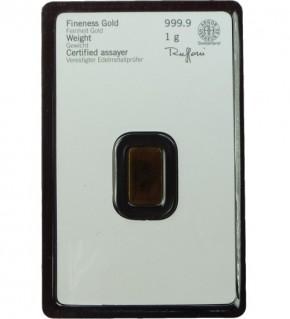 Heraeus Gold-Barren 1 g Scheckkarte LBMA-zertifiziert