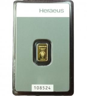 Heraeus Gold-Barren 1 g Scheckkarte (LBMA-zertifiziert)