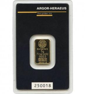 Argor-Heraeus Gold-Barren 5 g Scheckkarte (LBMA-zertifiziert)