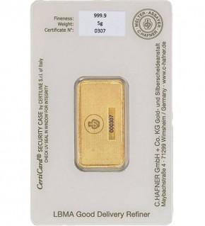 C.Hafner Gold-Barren 5 g Scheckkarte (LBMA-zertifiziert)