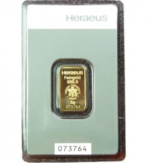 Heraeus Gold-Barren 5 g Scheckkarte (LBMA-zertifiziert)