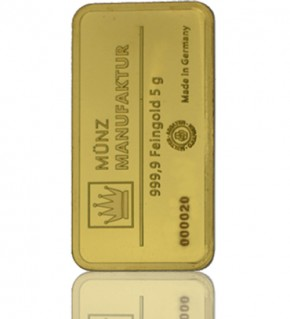 Gold-Barren 5 g MünzManufaktur Blister