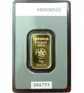 Heraeus Gold-Barren 10 g Scheckkarte