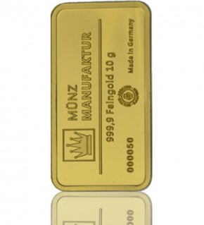 Gold-Barren 10 g MünzManufaktur Folie