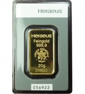 Heraeus Gold-Barren 20 g Scheckkarte (LBMA-zertifiziert)