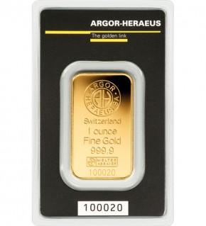 Argor-Heraeus Gold-Barren 1 oz (31,1 g) Scheckkarte (LBMA-zertifiziert)