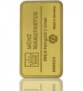 Gold-Barren 1 oz (31,1 g) MünzManufaktur-Folie