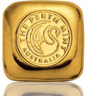 Gold-Barren 1 oz (31,1 g) Perth Mint Quadrat Gussbarren