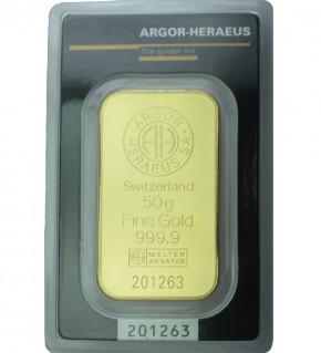 Argor-Heraeus Gold-Barren 50 g Scheckkarte, LBMA zertifiziert