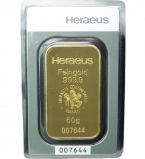 Heraeus Gold-Barren 50 g Scheckkarte, LBMA zertifiziert