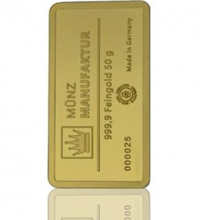 Gold-Barren 50 g MünzManufaktur-Folie