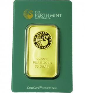 Perth Mint Gold-Barren 50 g Scheckkarte, LBMA zertifiziert