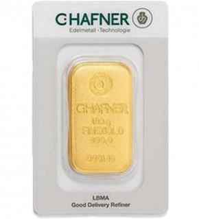C.Hafner Gold-Barren 100 g Scheckkarte, gegossen, LBMA zertifiziert