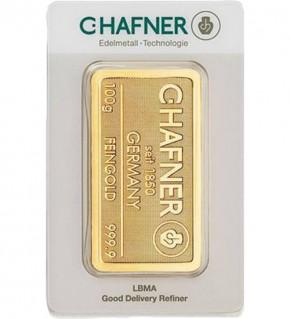 C.Hafner Gold-Barren 100 g Scheckkarte, LBMA zertifiziert