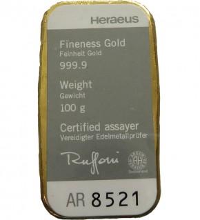 Heraeus Gold-Gussbarren 100 g mit Zertifikat