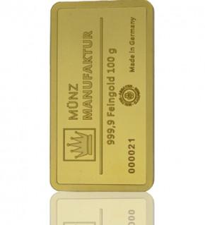 Gold-Barren 100 g MünzManufaktur Folie
