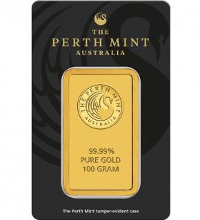 Perth Mint Gold-Barren 100 g Scheckkarte LBMA-zertifiziert