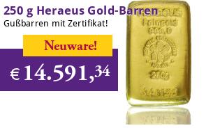 Heraeus Gold-Gussbarren 250 g eingeschweißt mit Zertifikat