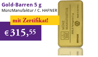Gold-Barren 5 g MünzManufaktur Folie