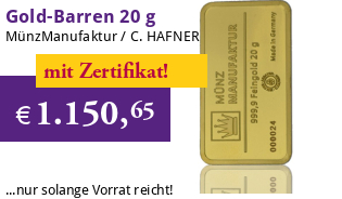 Gold-Barren 20 g MünzManufaktur Blister