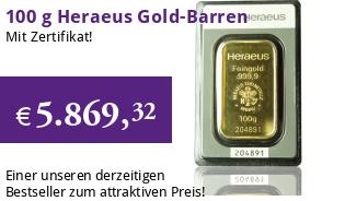 Heraeus Gold-Prägebarren 100 g im Blister mit Zertifikat