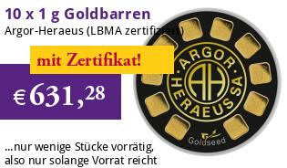 10 x 1 g GoldSeed Gold-Barren von Argor-Heraeus