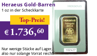 Heraeus Gold-Barren 1 oz / 31,1g Scheckkarte LBMA-zertifiziert