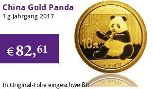 China Gold Panda 1 g 2017
