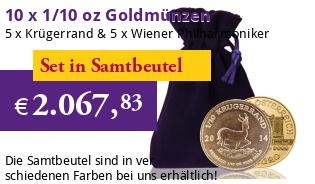 10 x 1/10 oz Goldmünzen (5 x Krügerrand & 5 x Wiener Philharmoniker)