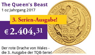 The Queen's Beast - Roter Drache von Wales 1 oz 2017